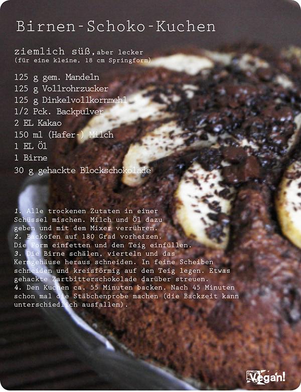 Birnen Schoko Kuchen Billas Welt